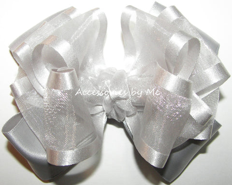 Silver Organza Satin Trim Hair Bow