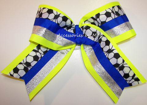 Soccer Ribbons Big Team Spirit Hair Bow