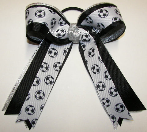 Soccer Black Silver Metallic Ponytail Holder Bow