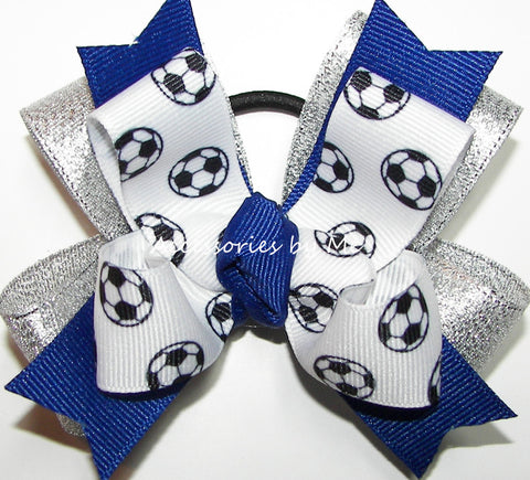 Soccer Blue Silver Pigtail Hair Bow