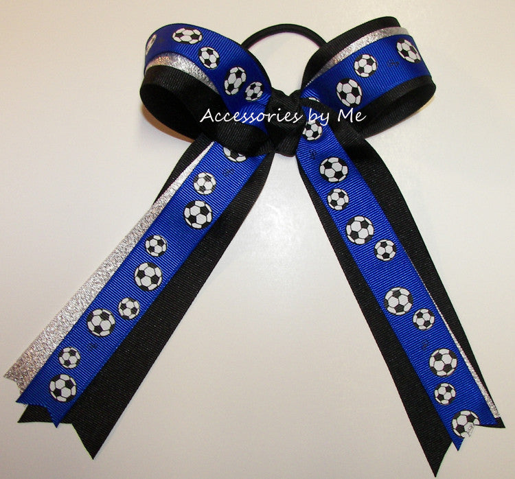 Soccer Royal Blue Silver Black Ponytail Bow