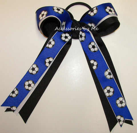 Soccer Blue White Ponytail Holder Bow
