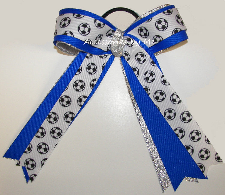 Soccer Electric Blue Silver Ponytail Bow