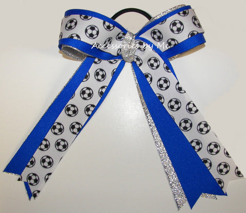 Soccer Electric Blue Silver Ponytail Holder Bow