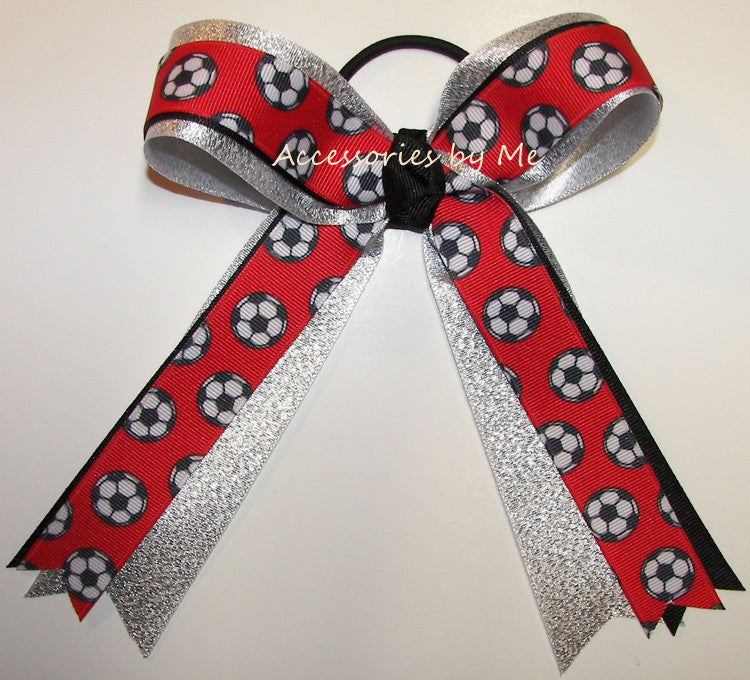 Soccer Red Black Silver Ponytail Holder Bow - Accessories by Me