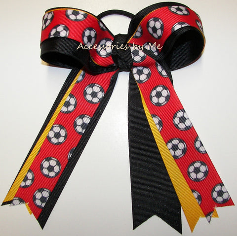 Soccer Red Black Ponytail Holder Bow