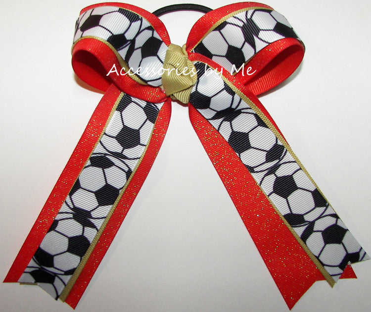 Soccer Orange Gold Ponytail Holder Bow