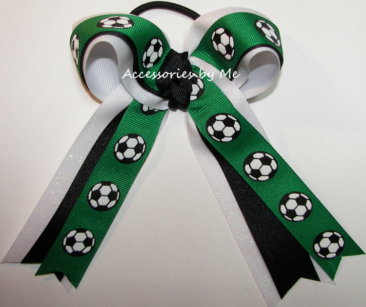 Soccer Green Black White Glitter Ponytail Bow