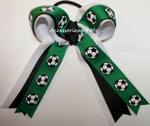 Soccer Green Black Ponytail Hair Bow