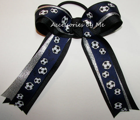 Soccer Navy Blue Silver Ponytail Holder Bow