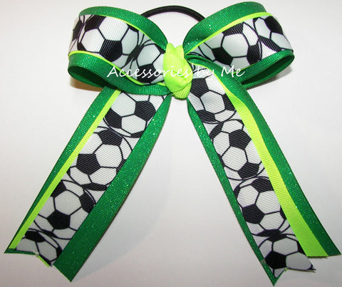 Soccer Neon Lime Green Glitter Ponytail Bow