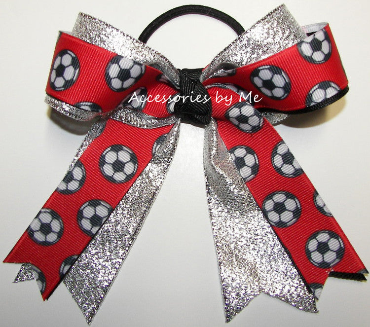Soccer Red Black Silver Ponytail Holder Bow