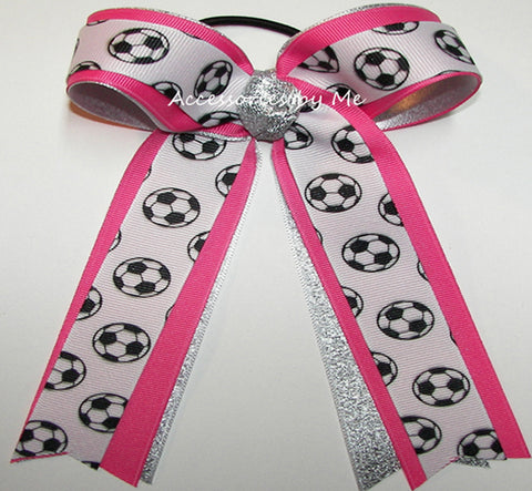 Soccer Hot Pink Silver Ponytail Holder Bow