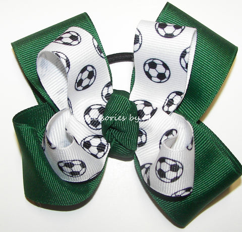 Soccer Pigtail Hair Bow