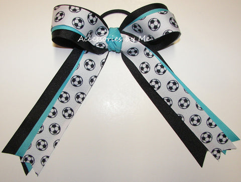 Soccer Turquoise Black Ponytail Holder Bow
