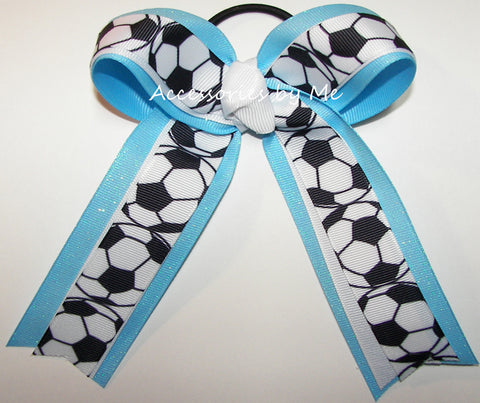 Soccer White Blue Glitter Ponytail Bow