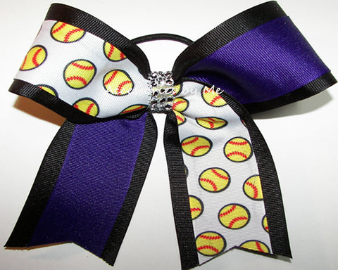 Glitzy Softball Purple Black Rhinestone Bow