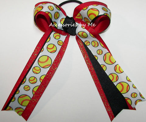 Softball Black Red Glitter Ponytail Bow