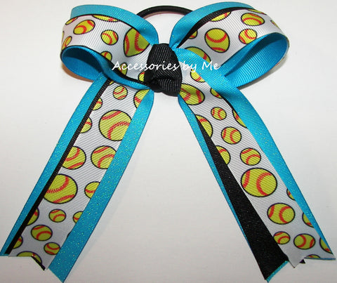 Softball Turquoise Blue Ponytail Bow