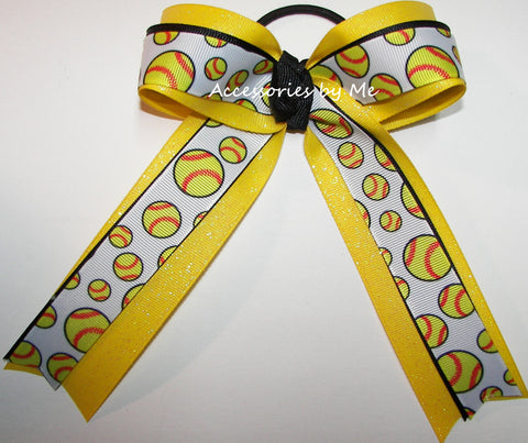 Softball Yellow Black Ponytail Bow