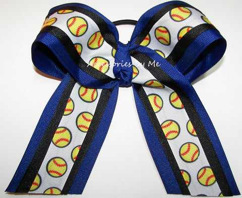 Softball Royal Blue Black Ponytail Holder Bow