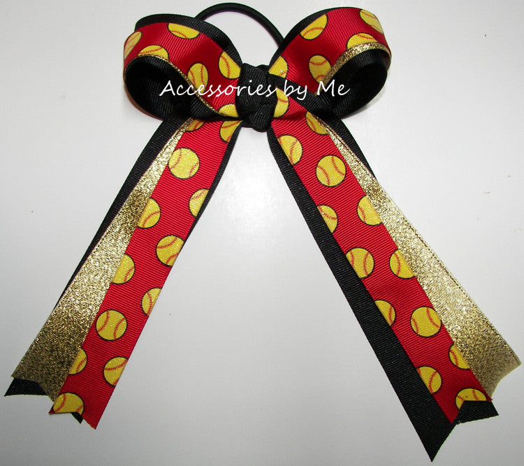 Softball Glitter Red Black Gold Metallic Ponytail Holder Bow