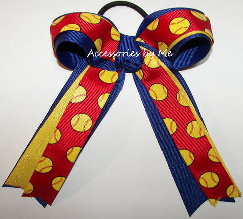 Softball Glitter Red Yellow Ponytail Bow
