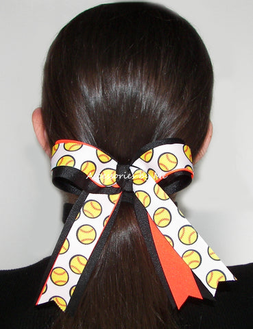 Softball Neon Orange Black Ponytail Holder Bow