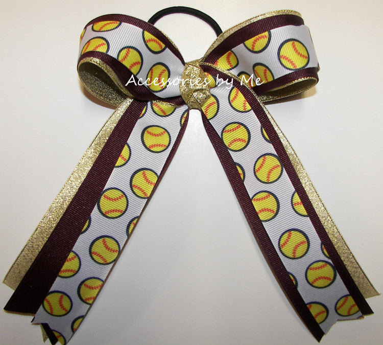 Softball Maroon Gold Metallic Ponytail Holder Bow
