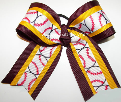 Softball Maroon Yellow Gold Ponytail Holder Bow