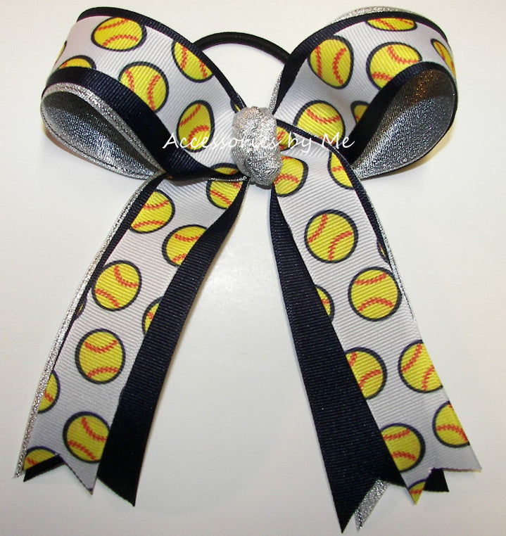 Softball Navy Blue Silver Ponytail Bow