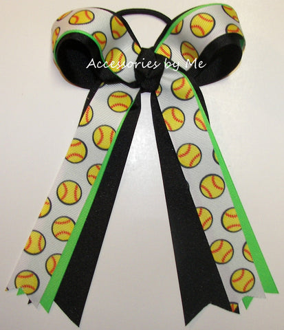 Softball Neon Green Black Ponytail Holder Bow