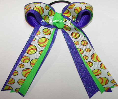 Softball Neon Green Purple Ponytail Bow