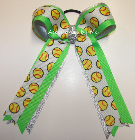 Softball Neon Green Silver Ponytail Holder Bow