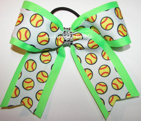 Glitzy Softball Neon Lime Rhinestone Bow