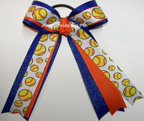 Softball Orange Royal Blue Ponytail Bow