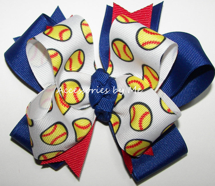 Softball Royal Blue Red No Tails Hair Bow