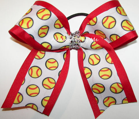 Glitzy Softball Red Rhinestone Bow