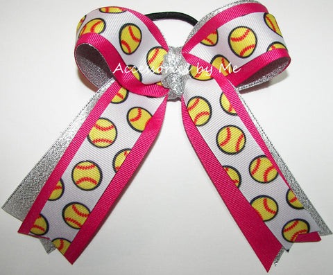 Softball Shocking Pink Silver Metallic Hair Bow