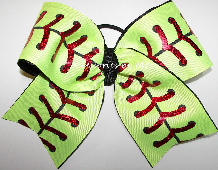 Softball Neon Yellow Red Foil Laces Big Cheer Bow