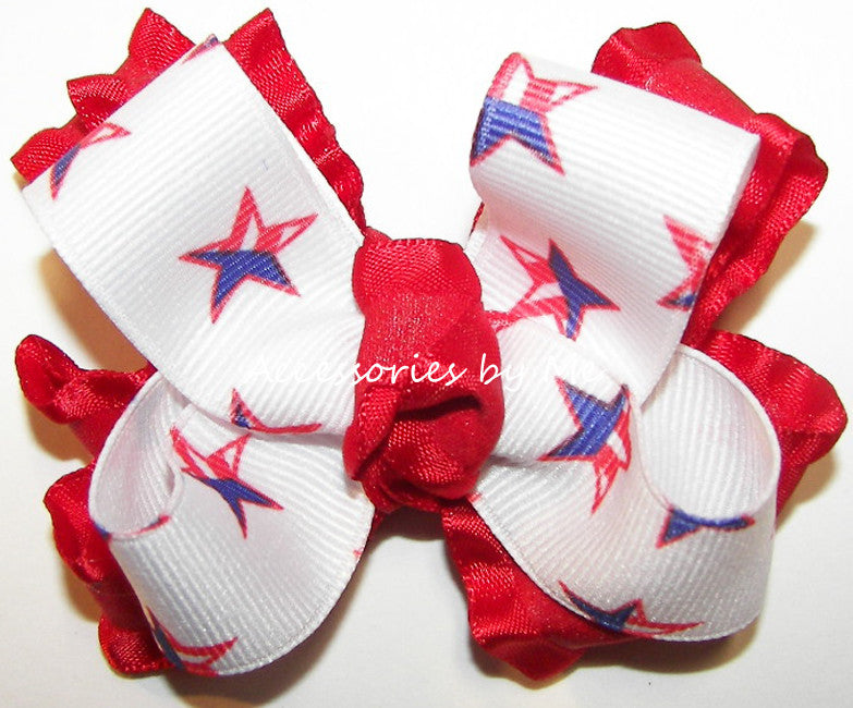 Patriotic USA Stars Red White Blue Ruffle Hair Bow - Accessories by Me