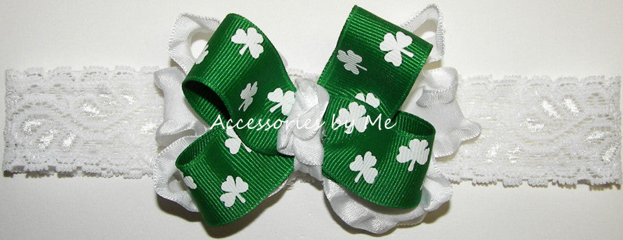 Frilly St. Patrick's Day Shamrock White Ruffle Bow Headband - Accessories by Me