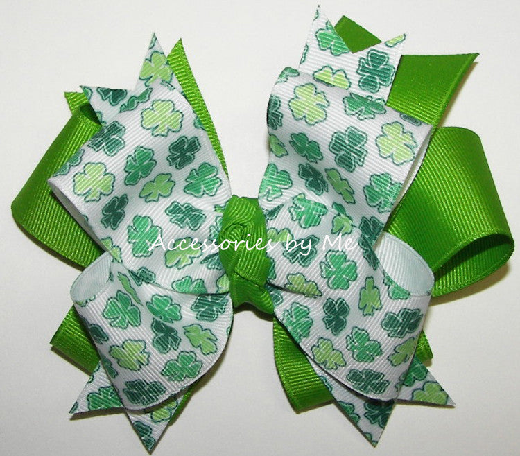 St. Patrick's Day Shamrock Green White Funky Hair Bow