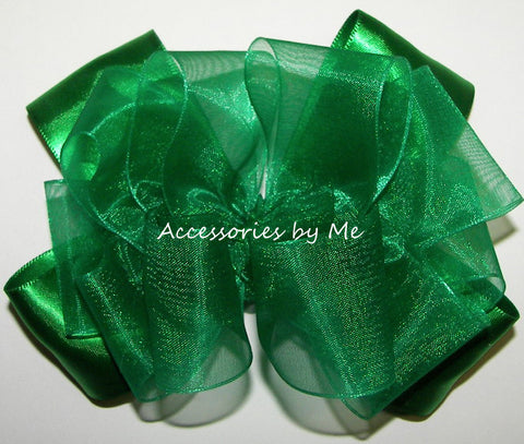 Fancy Emerald Green Organza Satin Hair Bow