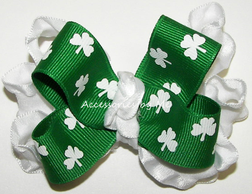 Green Shamrock Ruffle Hair Bow