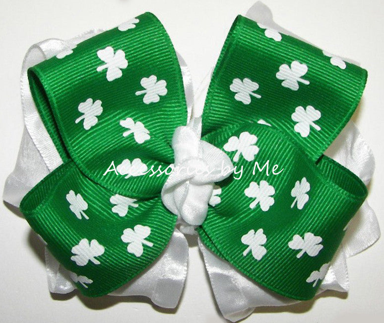 St. Patrick's Day Shamrock Green White Big Hair Bow