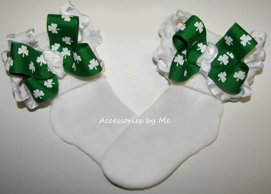 Shamrock Green White Ruffle Bow Socks