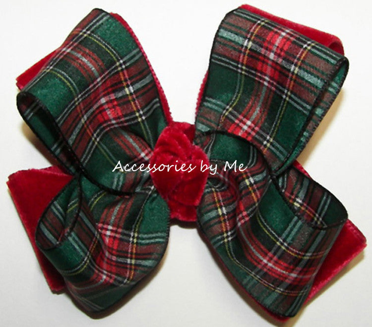 Christmas Green Tartan Plaid Red Velvet Hair Bow - Accessories by Me