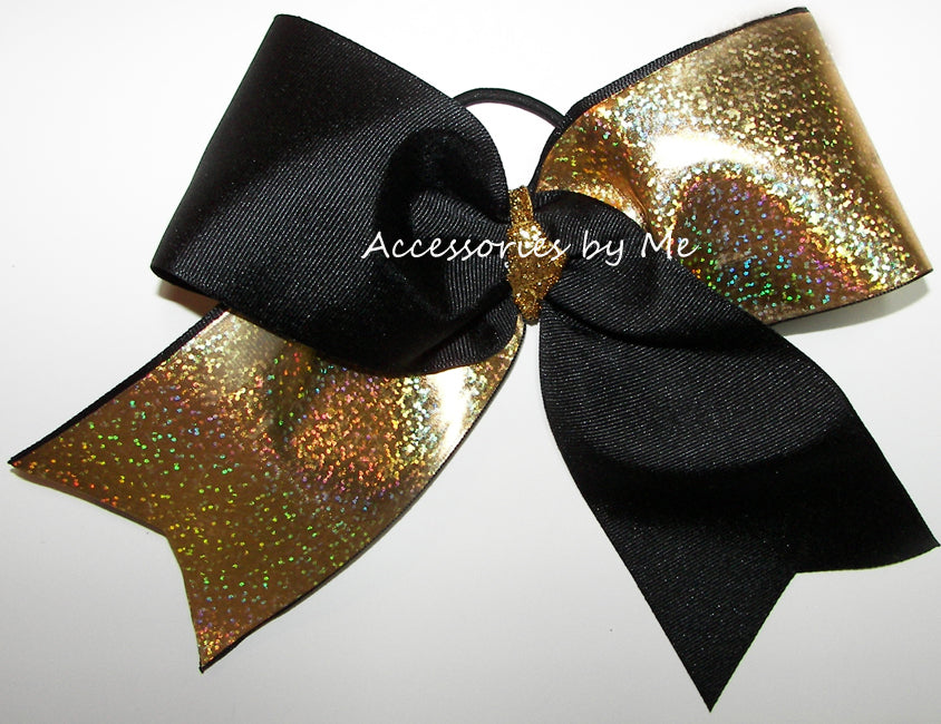 Tic Toc Black Gold Glittery Big Cheer Bow