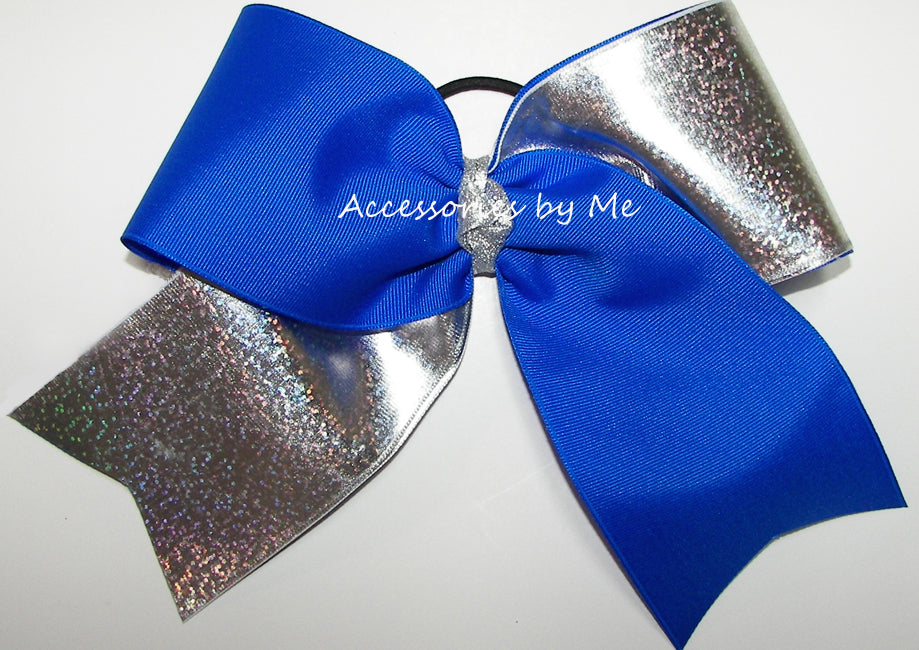 Tic Toc Electric Blue Silver Glittery Big Cheer Bow